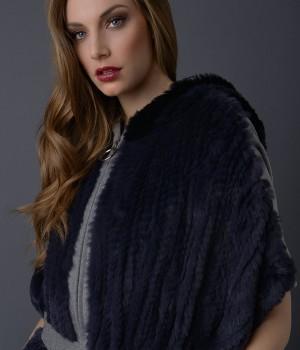 Mantella panno 100% lana rex rabbit tricot con cappuccio